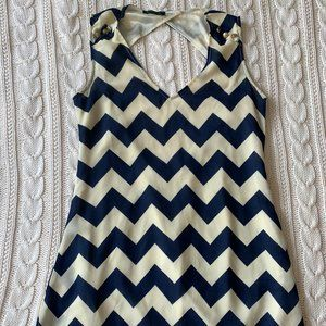 Sleeveless Navy Chevron Open Back Top